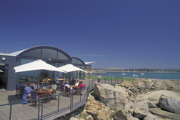 The Reef Cafe - Granite Island: a great place to visit in Victor Harbor.  Image &copy SATC; Photographer Uknown. This photo sponsored by Driving Instruction Category.