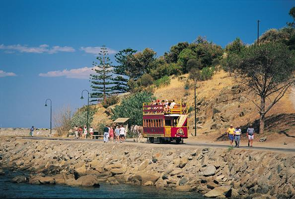 Horse Drawn Tram on Granite island: a great place to visit in Victor Harbor.  Image © Fleurieu Peninsula Tourism. This photo sponsored by Restaurants Category.
