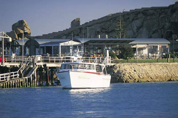 Boat at Granite Island: a great place to visit in Victor Harbor.  Image © SATC; Barry Skipsey. This photo sponsored by Hotels Category.