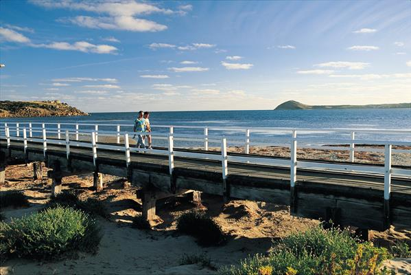 Granite Island Causeway: a great place to visit in Victor Harbor.  Image © SATC; Peter Fisher. This photo sponsored by Beds &-or Bedding Retail Category.