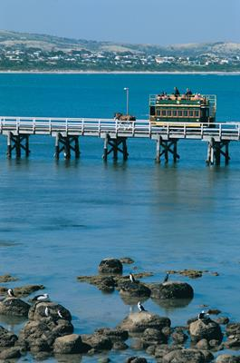 Horse Drawn Tram: a great place to visit in Victor Harbor.  Image © SATC; Johnny Kamma. This photo sponsored by Accommodation - Self Contained Category.