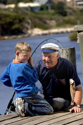 Fishing at Hindmarsh River: a great place to visit in Victor Harbor.  Image © SATC; Adam Bruzzone. This photo sponsored by Hearing Aids - Specialists and Services Category.