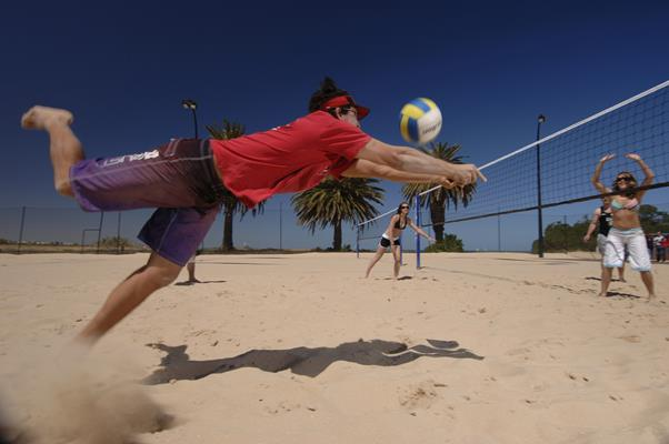Foreshore Volleyball: a great place to visit in Victor Harbor.  Image &copy SATC; Adam Bruzzone. This photo sponsored by Business - Software Category.