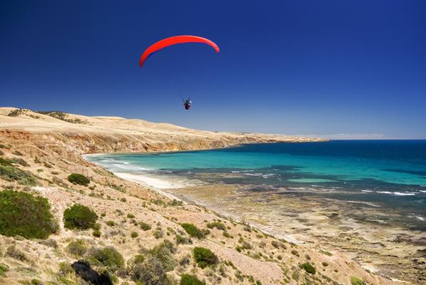 Parasailing: a great place to visit in Victor Harbor.  Image © Julie Fletcher. This photo sponsored by Takeaway Category.